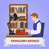 Typewriter Excellent Article Concept Background. Flat Illustration Of Typewriter Excellent Article V poster