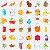 Half Vegetarian Icons Set. Cartoon Style Of 36 Half Vegetarian Vector Icons For Web For Any Design poster