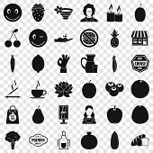 Vegetarian Cook Icons Set. Simple Style Of 36 Vegetarian Cook Vector Icons For Web For Any Design poster