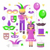 Mardi Gras Icons Set On White Background. Carnival Symbols And Objects - Mask With Feathers, Joker,  poster