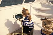 Discovery Concept. Little Child Enjoy Sea Travel On Ship, Discovery. New Discovery. Launch Out On A  poster