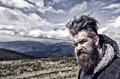 Man Bearded. Wanderlust And Hiking. Travel And Adventure. Man With Long Beard And Mustache Outdoor.  poster