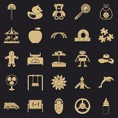 Children Spontaneity Icons Set. Simple Set Of 25 Children Spontaneity Vector Icons For Web For Any D poster