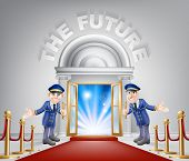 The Future Door Concept Of A Doormen Holding Open A Door At A Red Carpet Entrance With Velvet Ropes. poster