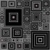 Pattern In Black And White With Red Accents
