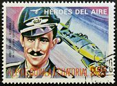 EQUATORIAL GUINEA - CIRCA 1974: stamp printed in Guinea dedicated to air heroes shows Adolf Galland