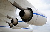 Three Turbo-Jet Engines Under Wing Of Cargo Airplane