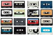 pic of magnetic tape  - collection of various vintage audio tapes on white background - JPG