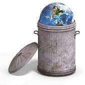 Terra em uma lata de lixo