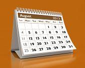 Calendário de agosto de 2013