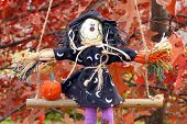 Swinging Halloween Witch And Pumpkin Decoration