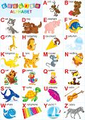 stock photo of kiddy  - English alphabet for children with funny animals and toys - JPG
