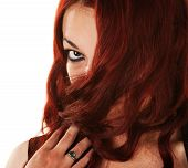 foto of fidget  - Woman on isolated background covering her mouth with hair - JPG