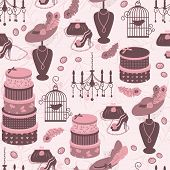 Retro fashion seamless  pattern  with women accessory.
