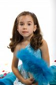stock photo of toddlers tiaras  - Little Princess in Blue Dress and Roses petals - JPG