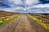 Straight Gravel Road In Easter Island Landscape