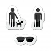 stock photo of seeing eye dog  - Blind person icon with cane - JPG