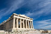 pic of parthenon  - Facade of ancient temple Parthenon in Acropolis Athens Greece on the blue sky background - JPG