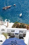 Sea View On Yacht From Restaurant's Terrace Santorini Island, Greece