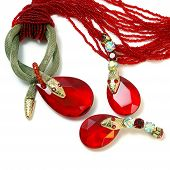 The Necklace And Earrings With Red Stone And Snake.