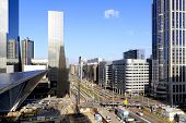 City Skyline And Construction Of Rotterdam Central Station