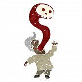 retro cartoon ghost leaving man