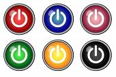 Six Power On Icon Button Switch Graphics