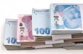 Bunch of Turkish Lira over white background