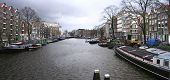 Picture Of A Big Canal In Amsterdam, Holland