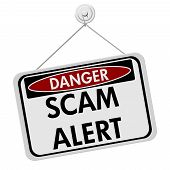 stock photo of precaution  - A red white and black sign with the word Scam Alert isolated on a white background Danger Scam Alert - JPG