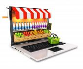 3D Supermarkt-laptop