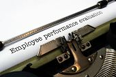 pic of performance evaluation  - Close up of typewriter on Employee performance evaluation - JPG