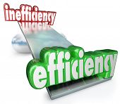 The word Efficiency wins in the balance against Inefficiency to illustrate the competitive advantage