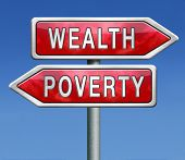 stock photo of poverty  - wealth or poverty trap rich or poor depends on fortune or misfortune good or bad luck - JPG