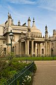 picture of saracen  - Royal Pavilion with garden and lamp post in foreground Brighton England UK - JPG