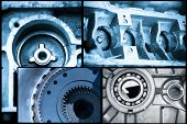 ball bearings, pinion-gears set blue toning idea