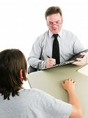 Friendly school guidance counselor or therapist advising an adolescent student.  White background.