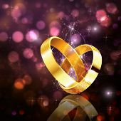 image of fiance  - Abstract romantic background with wedding rings and bokeh effect - JPG
