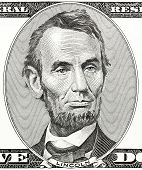 President Abraham Lincoln As He Looks On Five Dollar Bill Obverse