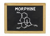 chemical formula of morphine on a blackboard