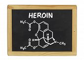 chemical formula of heroin on a blackboard