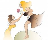 belly dancer performing , her fan giving flower to her, cartoon vector