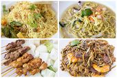 stock photo of southeast  - Southeast Asian Singapore Local Hawker Food Stall Dishes Closeup Collage - JPG