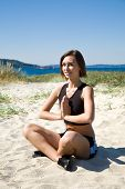 Yoga Girl On The Beach