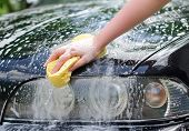 image of suds  - Female hand with yellow sponge washing car - JPG