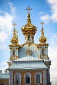 PETERHOF, RUSSIA - JULY 1: Golden cupola in Peterhof Palace, Russia, May 1, 2012 in Peterhof, Russia