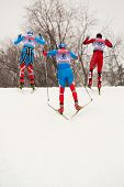 MOSCOW - FEB 9: Group of skiers negotiates a hill during FIS Continental Cup (Eastern Europe) ski racing in category of city-event, February 9, 2013, Moscow, Russia.