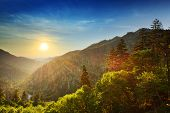 stock photo of blue ridge mountains  - Sunset at the Newfound Gap in the Great Smoky Mountains - JPG