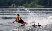 Water Skier Falling And About To Crash Into The Lake