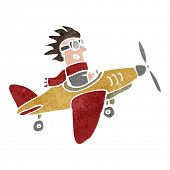 retro cartoon propeller plane